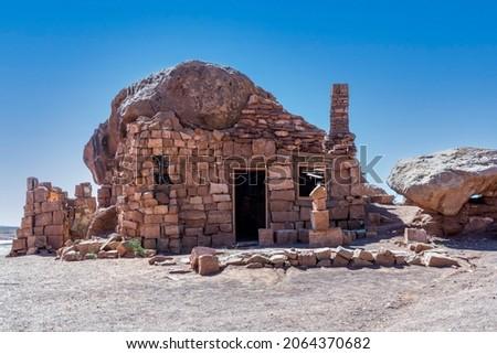Rock dwelling in the Arizona desert.
