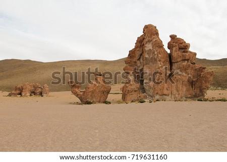 Rock Formation called Camel in Italia Perdida in cloudy day. Bolivian Altiplano, Potosi Department, Bolivia #719631160