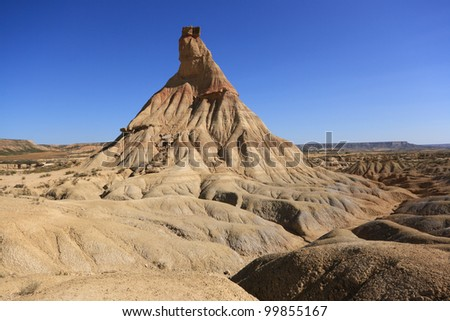 Rock formation called Castildetierra in the badlands of Bardenas Reales in southeast Navarre, Spain.