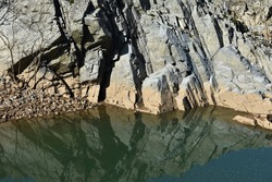 Rock Formation in Water Calm Water - Potomac River  Great Falls, MD. USA.