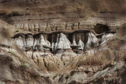 Rock Formation Natural Stone Erosion Hoodoos Ancient  Desert Landscape in the Badlands of Drumheller Alberta Canada