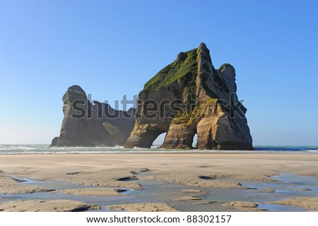 Rock Formation on Wharariki Beach, Golden Bay, New Zealand