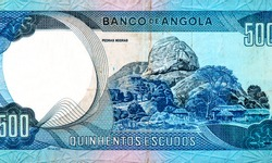 Rock formation (Pedras Negras), Portrait from Angola 500 Escudos 1972 Banknotes. An Old paper banknote, vintage retro. Famous ancient Banknotes. Collection.