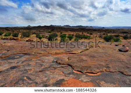 Rock formations and arid landscape in Augrabies National park South Africa, Moon rock