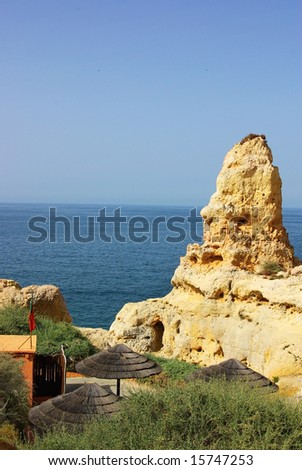 Rock formations at Carvoeiro in the Algarve region, Portugal.