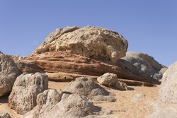 Rock formations from alabaster in White desert, Oasis area, Egypt