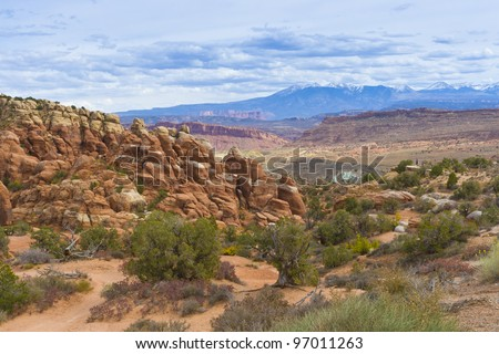 Rock Formations in Arches National Park with La Sal Mountains in the Background. Utah, USA