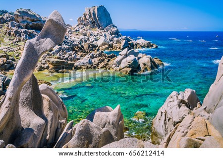 Rock formations in Capo Testa, Sardinia, Italy. Mediterranean coast. Natural granite monument