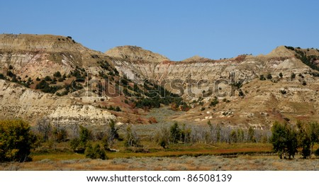 Rock formations in South Unit of badlands of Theodore Roosevelt National Park, North Dakota