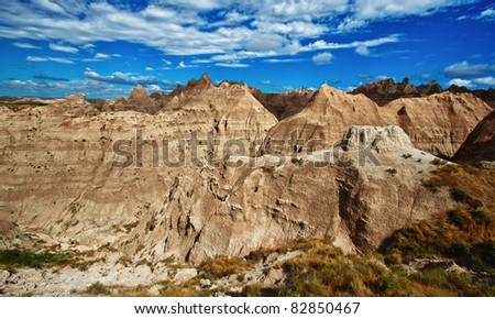 Rock formations in the Badlands National Park, South Dakota