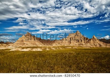 Rock formations in the Badlands National Park, South Dakota