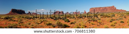Shutterstock Rock formations near the Monument Valley Visitors Center: To the left are Eagle Mesa, Setting Hen and Sleeping Bear.Sentinal Mesa is to the right and in between we see Brighams Tomb, Stagecoach,