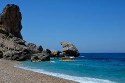 Rock formations on Platia Ammos Beach, in Kefalonia, Greece