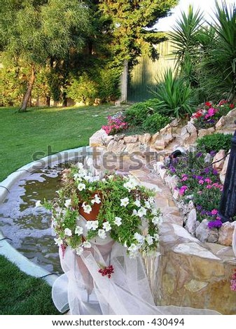 stock photo rock garden with wedding decorations