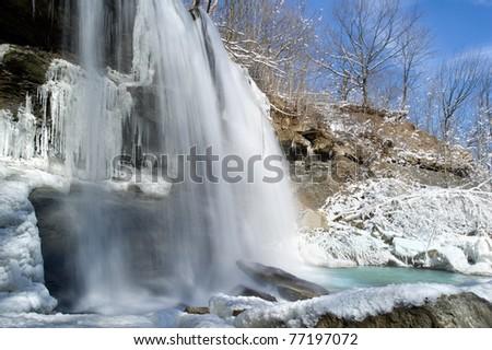 Rock Glen Falls near Arkona Ontario in the Winter