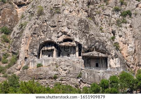 Rock graves (Kaya mezarlari in Turkish) on hill in Amasya city, Turkey Stok fotoğraf ©