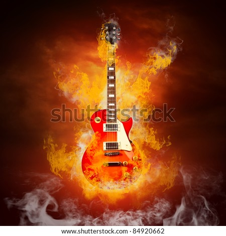 Rock guita in flames of fire