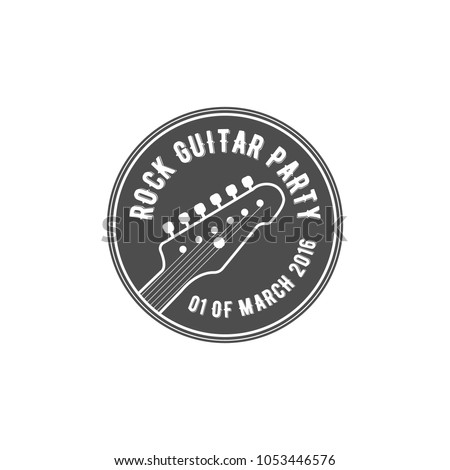 Rock guitar party label, badge, emblem logo with musical instrument. Stock illustration isolated on white background.