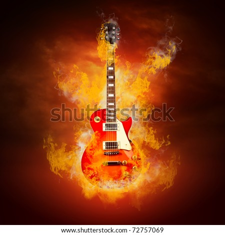 Rock guitara in flames of fire