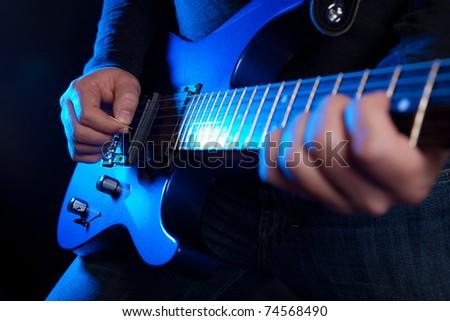 rock guitarist - stock photo
