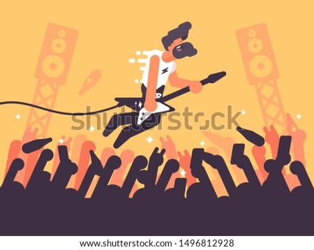 Rock guitarist plays at concert. Music performer on stage. illustration