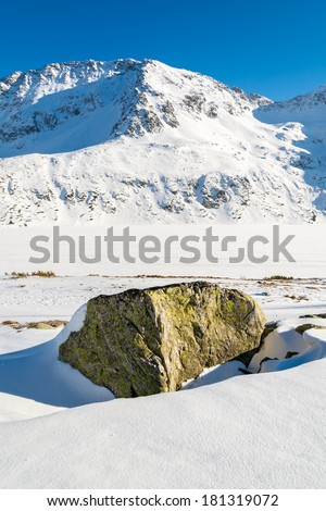 Rock in fresh snow in winter landscape of 5 lakes valley, High Tatra Mountains, Poland