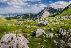 Rock in the big karst of mountain Durmitor in Montenegro