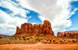 Rock in the desert of the canyon. Red rock canyon desert landscape. Mountains in red rock canyon