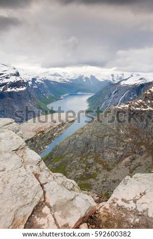rock lookout trolltunga in...