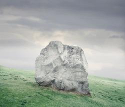 Rock lying on a green meadow