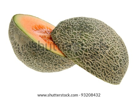 Rock Melon Cut in Half on White Background