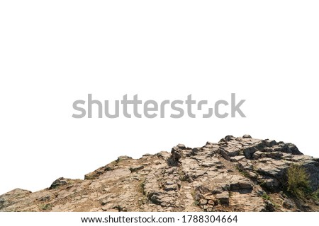 Rock mountain slope foreground close-up isolated on white background. Element for matte painting, copy space. Stock photo ©