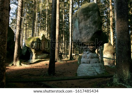 Rock Mushrooms, Skalne Grzyby famous rock formation in the Table Mountains ( Gory Stolowe ), National Park, popular tourist attraction, Poland. Zdjęcia stock ©