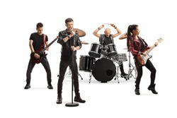 Rock music band performing with female guitarist, drummer and a male singer isolated on white background