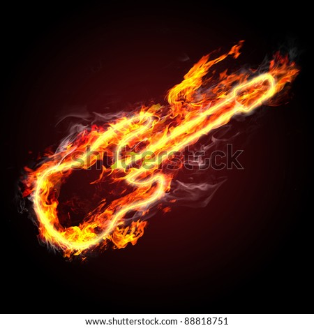 rock music. fiery guitar against black background