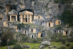 Rock necropol of pinara ancient city, Lycia Antalya Turkey