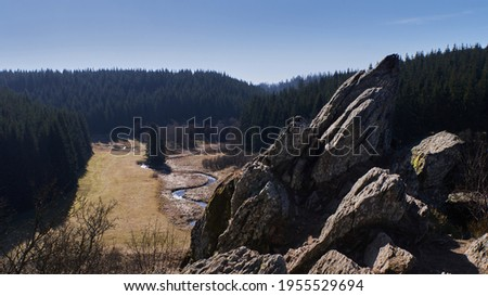 Rock of Bieley, located in Belgium and also called Rocher du Bieley. Between the rocks a lovely stream and trees. Photo stock ©
