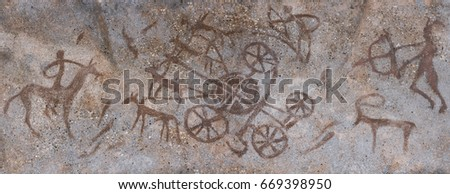 rock painting. drawing on the cave wall paint ocher. Neanderthal, native, old man, hunter, animals, ancient wagon. Stone Age Ice Age, anthropology. prehistoric man