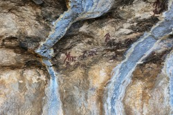 Rock paintings in Tozal de Mallalta, Guara mountain range, Huesca province, Spain
