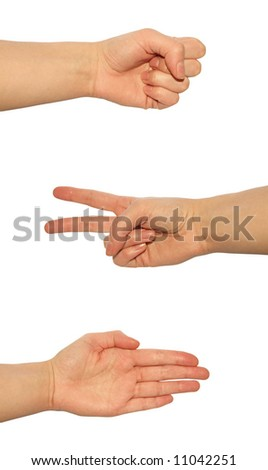 Rock, paper, scissors over white background