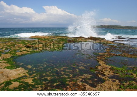 Rock pool by Maroubra beach in the Sydney suburbs New South Wales Australia