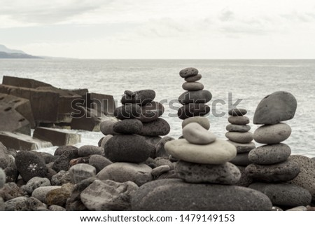 Rock pyramid in equilibrium near the sea
