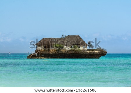 Rock Restaurant over the sea in Zanzibar, Tanzania