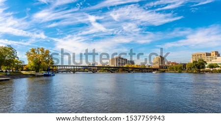 Rock River view in Rockford Town of Illinois Stockfoto ©