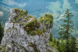 Rock scene, Sina peak, Demanovska valley, Low Tatras, Slovak republic. Seasonal natural scene.