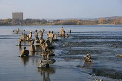 Rock Sculptures in and on the water at Remic Rapids Park