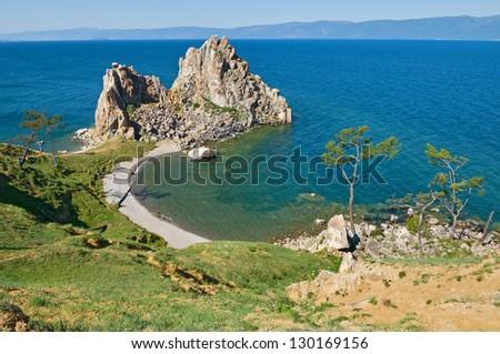 Rock Shamanka on the island of Olkhon on Lake Baikal in Russia.