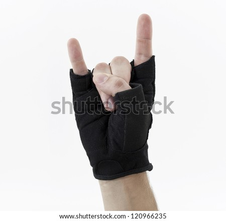 Rock sign, gloved hand