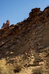 Rock Staircase Climbs Up Syncline Loop Trail in Canyonlands National Park