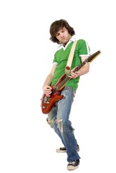 Rock star with a guitar isolated over white background